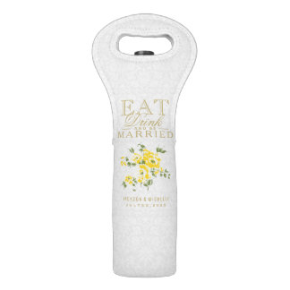 Wedding Eat, Drink and be Married - White & Yellow Wine Bag