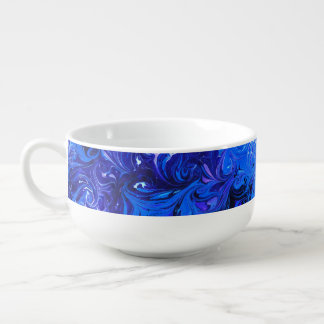 Wedding elegant blue vintage chic pattern soup mug