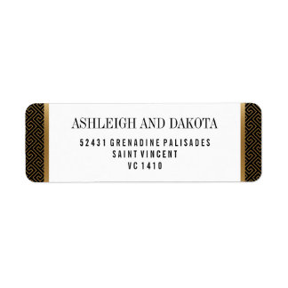 Wedding   Elegant Formal Golden Geometric on Black Return Address Label