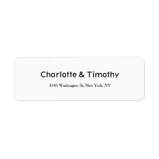 Wedding Elegant Minimalist Creative Black & White Return Address Label