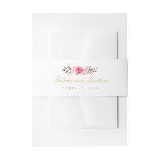 Wedding Elegant Pink Rose Floral Stylish Invitation Belly Band