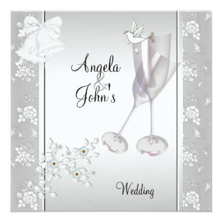 Wedding Elegant Silver White Lace Floral Card