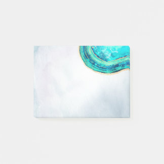 Wedding Elegant Watercolor Teal & Gold Geode Slice Post-it Notes
