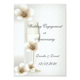 Wedding Engagement or Anniversary Blossoms 4.5x6.25 Paper Invitation Card