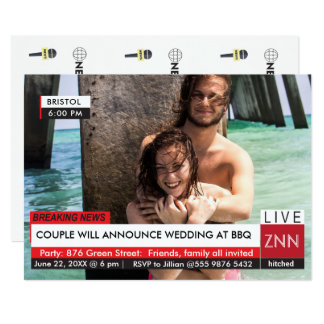 Wedding Engagement Party BBQ Breaking News Card