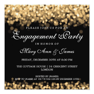 Wedding Engagement Party Gold Lights 13 Cm X 13 Cm Square Invitation Card