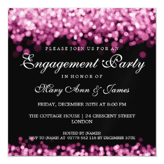 Wedding Engagement Party Pink Lights Magnetic Invitations