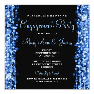 Wedding Engagement Party Sparkles Blue 13 Cm X 13 Cm Square Invitation Card