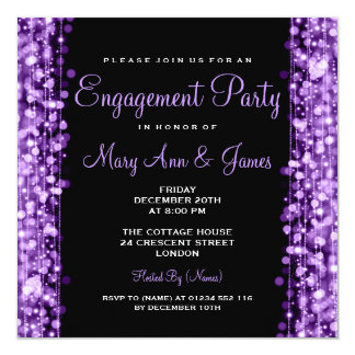 Wedding Engagement Party Sparkles Purple 13 Cm X 13 Cm Square Invitation Card