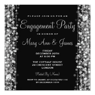 Wedding Engagement Party Sparkles Silver Card