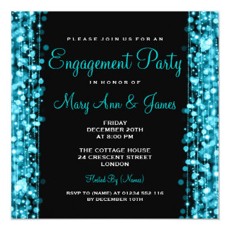 Wedding Engagement Party Sparkles Turquoise 13 Cm X 13 Cm Square Invitation Card