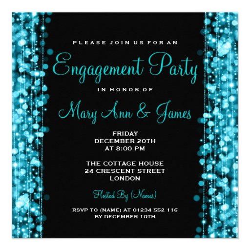 Wedding Engagement Party Sparkles Turquoise Personalized Invites