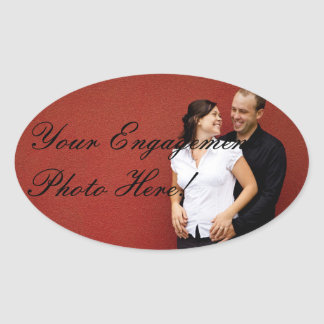 Wedding Engagement Photo Stickers Oval