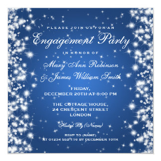 Wedding Engagement Winter Sparkle Blue Card