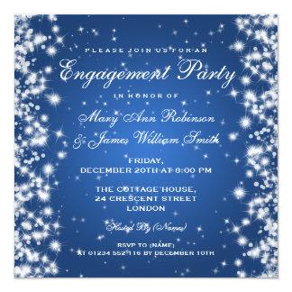 Wedding Engagement Winter Sparkle Blue Announcement