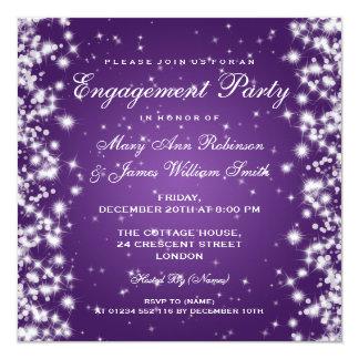 Wedding Engagement Winter Sparkle Purple 13 Cm X 13 Cm Square Invitation Card