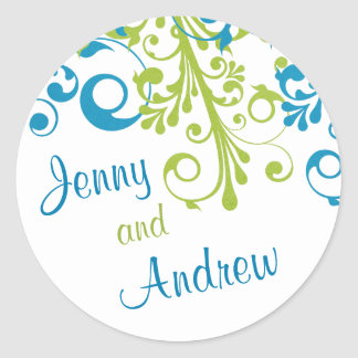Wedding Envelope Seal Abstract Floral Blue Green Round Sticker