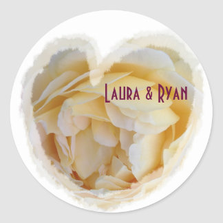 Wedding Envelope Seal Yellow Rose Inside Heart Round Sticker