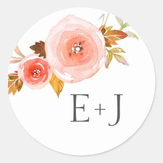Wedding envelope seals / blush floral watercolor round sticker