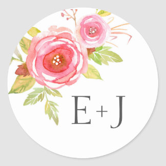Wedding envelope seals / pink floral watercolor round sticker