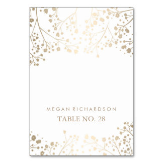 wedding escort cards baby's breath faux gold table cards