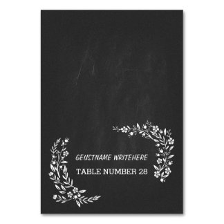 Wedding escort cards black chalkboard floral table card