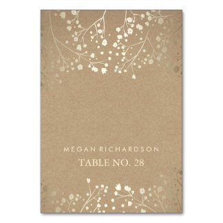 wedding escort cards kraft baby's breath gold table cards