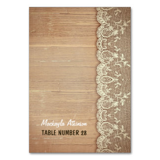 wedding escort cards rustic wood lace table cards