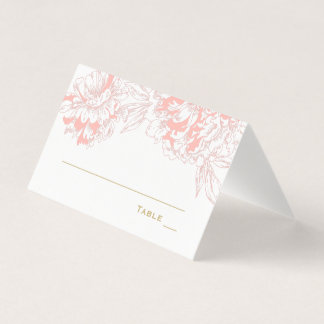 Wedding Escort Place Card | Coral and Gold Peony