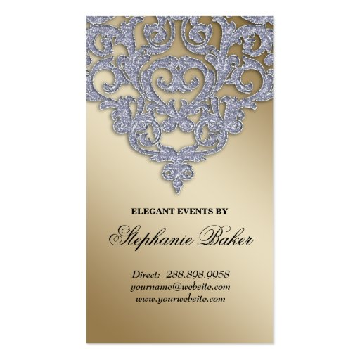 Wedding Event Planner Damask Silver Sparkle Gold Business Card
