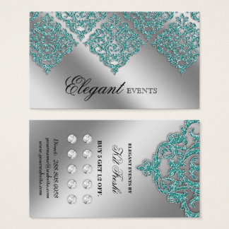 Wedding Event Planner Damask Silver Teal Loyalty Business Card