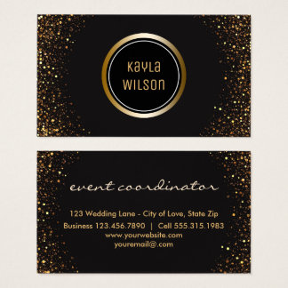 Wedding Event Planner | Elegant Black Gold Business Card