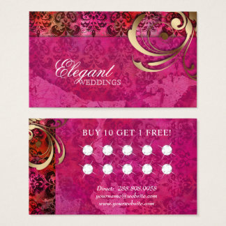 Wedding Event Planner Indian Damask Loyalty Card