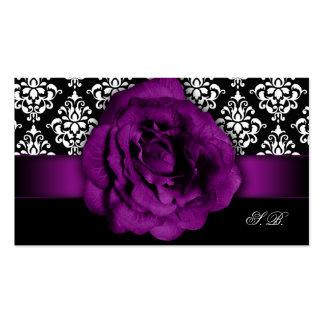 Wedding Event Planner Purple Rose Damask Business Cards