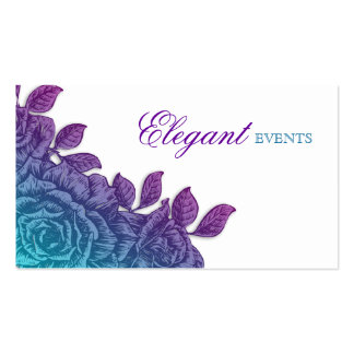 Wedding Event Planner Rose Flower Blue Purple Business Cards