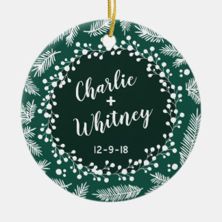Wedding Evergreen Personalized First Christmas Ceramic Ornament