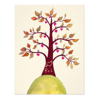 Wedding Fall Autumn Love Heart Tree Carving Invite