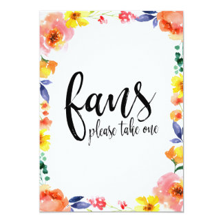 Wedding Fans Calligraphy Affordable Floral Sign Card