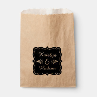 Wedding Favor Bags | Black Monogram Frame
