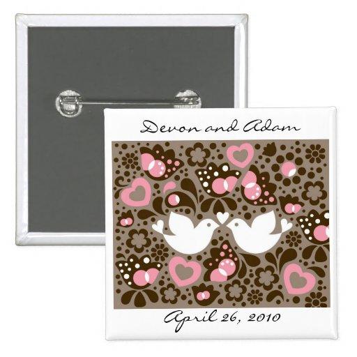 """Wedding Favor Button """"The Love Birds"""""""