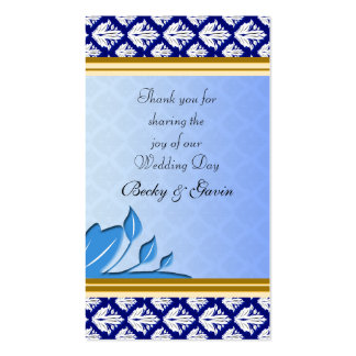 Wedding Favor Gift Tag Art Nouveau Blue Damask Pack Of Standard Business Cards