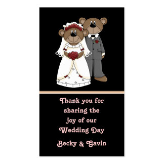 Wedding Favor Gift Tag Wedding Bears Collection Pack Of Standard Business Cards