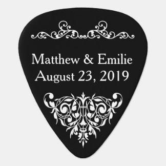 Wedding Favor Guitar Pick - Ornate Black