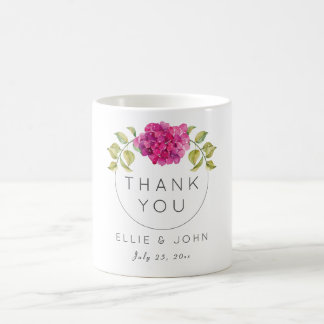 Wedding Favor Hot Pink Hydrangea Coffee Mug