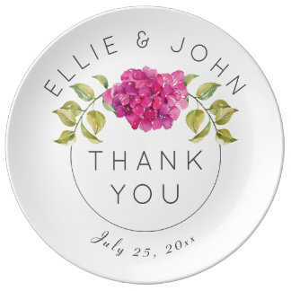 Wedding Favor Hot Pink Hydrangea Plate