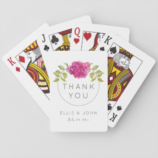 Wedding Favor Hot Pink Hydrangea Playing Cards