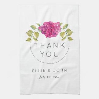 Wedding Favor Hot Pink Hydrangea Tea Towel