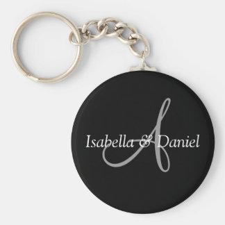 Wedding Favor Keepsake Bride Groom Names Monogram Basic Round Button Key Ring