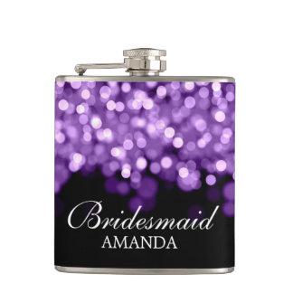 Wedding Favor Purple Lights Hip Flask