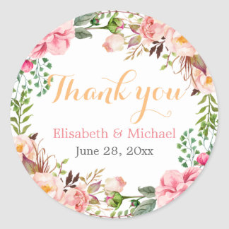 Wedding Favor Romantic Floral Decor Thank You Round Sticker